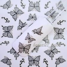1 Sheet 3D Nail Art Sticker Black Butterfly Patterned Manicure Decals Decoration