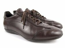 SANTONI Men's Brown Leather Lace Up Sneakers Italy Shoes Size 10