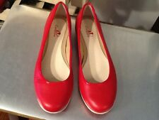 I love Comfort Women's Red Leather Slip on Loafer Flat Shoes size - US 8 M