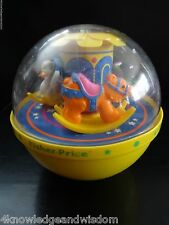 Fisher Price Vtg 1985 Roly Poly Merry-Go-Round Carousel Yellow Chime Ball #1150