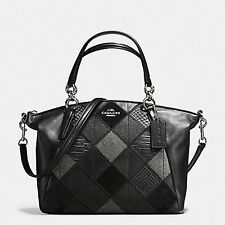 Paypal COD Coach F56848 Small Kelsey Satchel Metallic Patchwork Black Agsbeagle