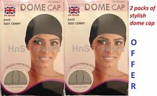 2 PACKS of Womens Spandex Dome Cap Flexible Breathable Material Fits Almost All*