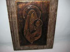 Vintage Embossed Repousse Work Copper Plaque Madonna & Child Arts & Craft