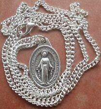 "Traditional Miraculous Medal (Blessed Virgin Mary) on shiny 24"" chain w/ clasp"