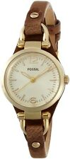 New Fossil ES3264 Georgia Gold Tan Tone Leather Band and Gold Dial Ladies Watch
