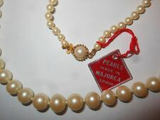 HOBE Vintage Graduating Majorca Pearl NECKLACE Unused Fancy Clasp  Mint w/ Label
