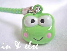 Keroppi Green Frog Head Bell Cell Phone Charm Strap 0.7 in.