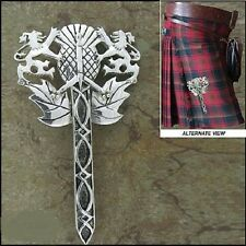 Pewter Rampant Lion, Thistle, & Claymore Sword Kilt Pin