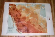 1906 PHYSICAL RELIEF MAP OF WESTERN CANADA ALBERTA BRITISH COLUMBIA / ROCKIES