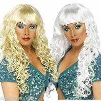 Long Curly Blond Wig White Silver Diva Glamour Siren Fancy Dress Costume WIG