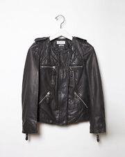 ISABEL MARANT ETOILE 'kady leather jacket' black quilted moto lambskin lamb 38