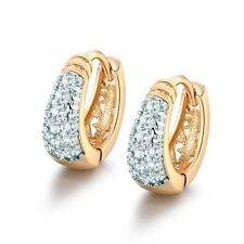 Fashion 18K Gold Filled Swarovski Crystal Women Diamante Hoop Earrings Jewellery