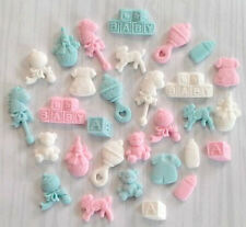 30 blue & pink baby girl/boy cupcake cake toppers christening, birthday, shower