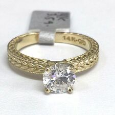 SOLID 14K YELLOW GOLD FANCY SOLITAIRE Cubic Zirconia ENGAGEMENT RING 1ct SIZE
