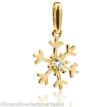 9ct Yellow Gold Snowflake CZ Gem Set Pendant for Necklace + gift bag