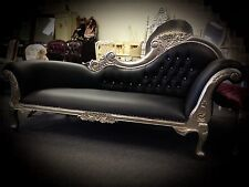 Chaise Lounge French Provincial Sofa Vintage Antique Reproduction Silver Black