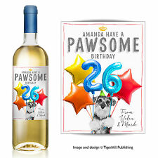 PERSONALISED miniature Schnauzer dog wine bottle label Birthday gift