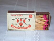 Vintage 1960's 70's Damp Proof Three 3 Torches Safety Matches Holder Matchbook