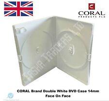 100 Doppia Custodia di DVD BIANCA 14 mm SPINA DORSALE NEW SOSTITUZIONE COPERCHIO contiene 2 DISCHI Corallo
