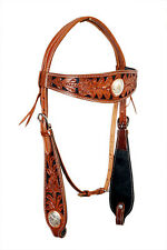 Western Natural Wax Finished With Star Conchos Headstall