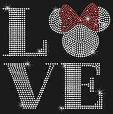 Love Minnie Mouse Inspired Square Bling HotFix Rhinestone Iron on Transfer