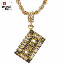 """Hip Hop 14K Gold Plated Iced Out Cassette Tape Pendant 24"""" Rope Chain HC 1070 G"""