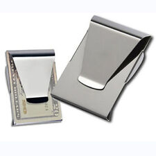 Men Women Slim Stainless Steel Money Clip Double Sided Credit Card Holder Wallet