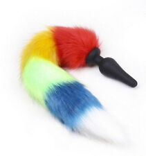 New super fluffy rainbow multi colour faux fur dog / fox tail with silicon plug