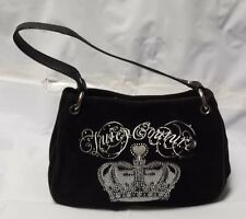 Juicy Couture Black Velvet Mini Hobo Purse w/ Silver Crown New with Defects