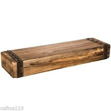 24-in Floating Wall Mount Shelf Rustic Distressed Fireplace Wood Display Mantel