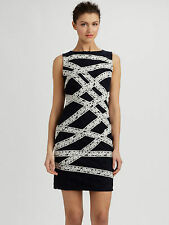 NEW $348 Sz 6 P TADASHI SHOJI Ribbon Embellished Lace Cocktail Dress BLACK IVORY