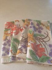 VTG  Set of 4 NewPeach Day LillieFloral Cotton Cloth Fabric Table Dinner Napkins