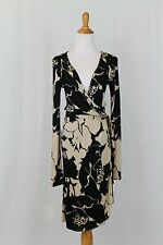 Vintage Valentino Roma Black and Beige Floral Wrap Dress Sz 6 42