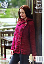 KNITTING PATTERN Ladies Long Sleeve Wrap Over Jacket Super Chunky King Cole 4612