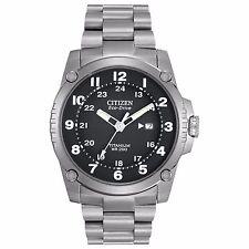 Citizen Eco-Drive Men's BJ8070-51E Super Titanium Bracelet Black Dial 43mm Watch