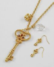 F1 Key Royal Crown Charms Long NECKLACE EARRING SET Goldtoned Crystal