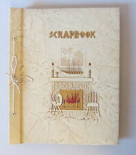 Vintage Early American Cabin House w/ Fireplace Spinning Wheel Scrapbook UNUSED