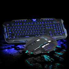 Hot 3 Color Illuminated LED Backlight Wired USB Ergonomic Gaming Keyboard&M