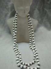 Stunning vintage Miriam Haskell milk glass 2 strands necklace  signed
