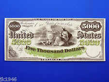 Replica $5,000 1863 3-Year Interest Bearing Note US Paper Money Currency Copy