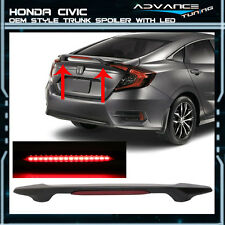 16 17 Honda Civic X 10th 4Dr Unpainted ABS OE Trunk Spoiler With LED Brake Light
