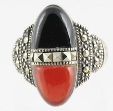 VINTAGE ART DECO STERLING SILVER BLACK ONYX RED CORAL MARCASITE SIZE 6.5 RING