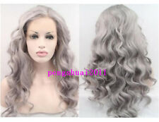 Heat Resistant Gray Long Wavy New Women's Hair Synthetic Lace Front Wig Natural