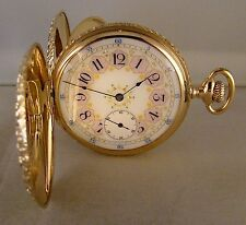 ANTIQUE ELGIN 14k SOLID GOLD MULTICOLOR HUNTER CASE FANCY DIAL 16s POCKET WATCH