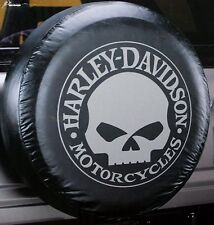 Harley Davidson HD willy g skull logo motorcycle camper RV rear spare tire cover
