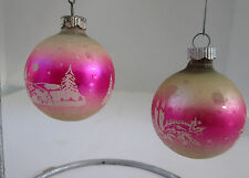 2 Vtg Shiny Brite Pink & White Stencil Christmas Ornaments Church & Candle 076