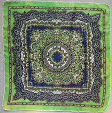 EXTRA LARGE SILK HANDKERCHIEF HANKIE VINTAGE 1960s 1970s MADE IN ITALY GREEN