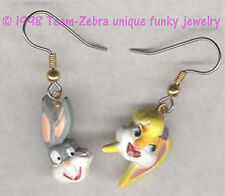 Funky Cartoon Couple BUGS LOLA BUNNY EARRINGS Looney Tunes Costume Jewelry SET