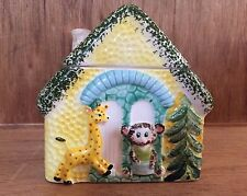 Vintage Grant Crest Hand Painted Cookie Jar House Roof Lid Giraffe Mouse Japan