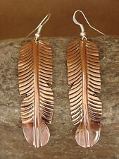 Navajo Indian Hand Stamped Copper Feather Earrings by Douglas Etsitty!